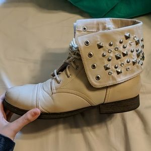 Creme Studded Combat Boots